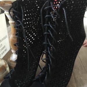 Peep toe ankle booties